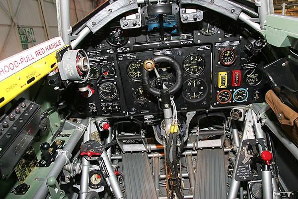 Cockpit restored as it appeared during Battle of Britain