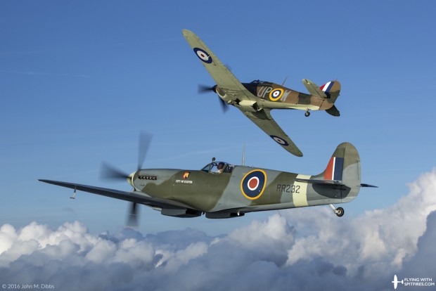Flying with Spitfires - Spitfire flights - RR232 Hurricane R4118 Chasing Hurricane Break