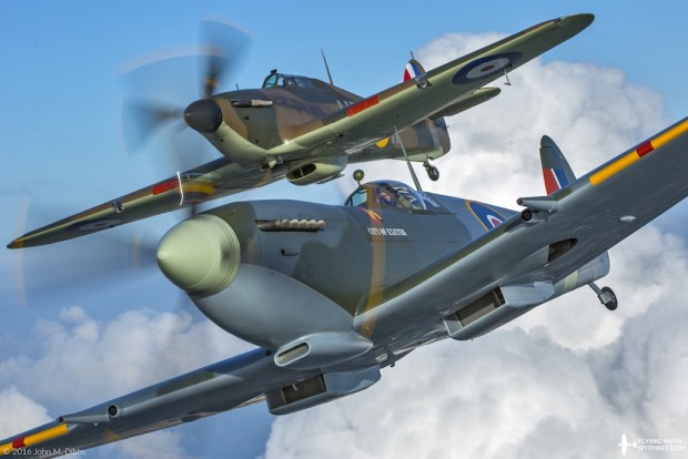 Flying with Spitfires - Spitfire flights - RR232 Hurricane R4118 Closeup Formation 3