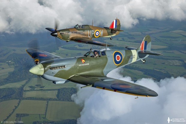 Flying with Spitfires - Spitfire flights - RR232 Hurricane R4118 Countryside Cloud Hole